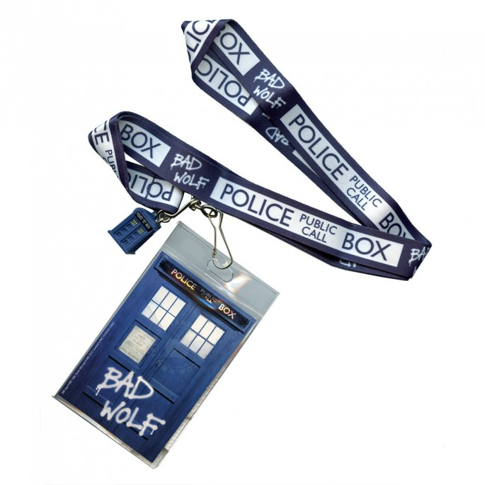 Doctor Who Lanyard Bad Wolf with Tardis Charm