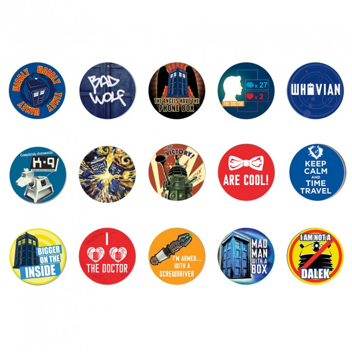 Doctor Who Button Badge Set Three