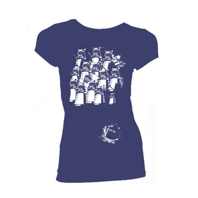 Doctor Who Dalek Army Space White on Blue with TARDIS Women's  Juniors T-Shirt