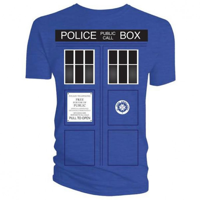 Doctor Who Tardis with Black Windows Blue Adult T-Shirt