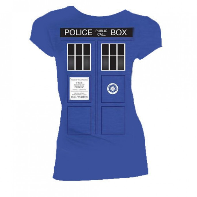 Doctor Who Tardis with Black Windows Blue Womens Juniors T-Shirt