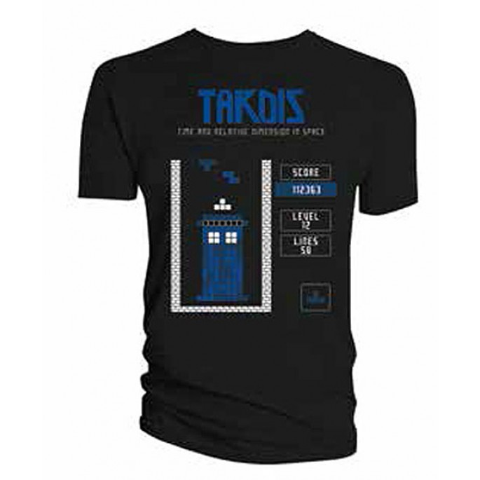 Doctor Who Falling Block Game Screen Black Adult T-Shirt