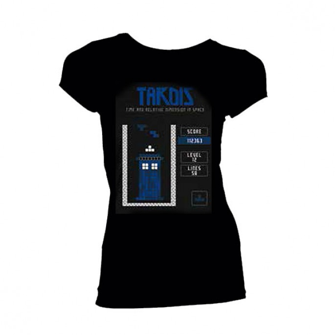 Doctor Who Falling Block Game Screen Black Womens Juniors T-Shirt