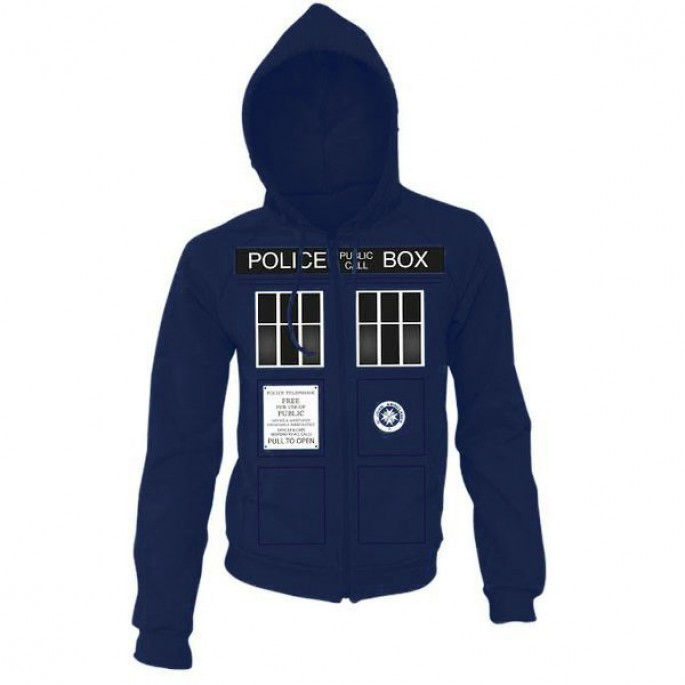Doctor Who Black Tardis Windows Dark Blue Adult Hoody