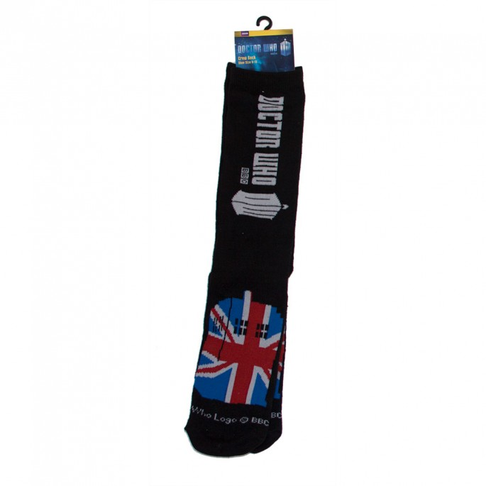 Doctor Who Ladies Union Jack Tardis Crew Socks