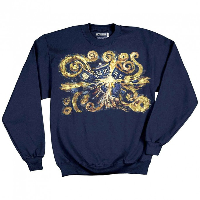 Doctor Who Van Gogh Exploding Tardis Crew Fleece