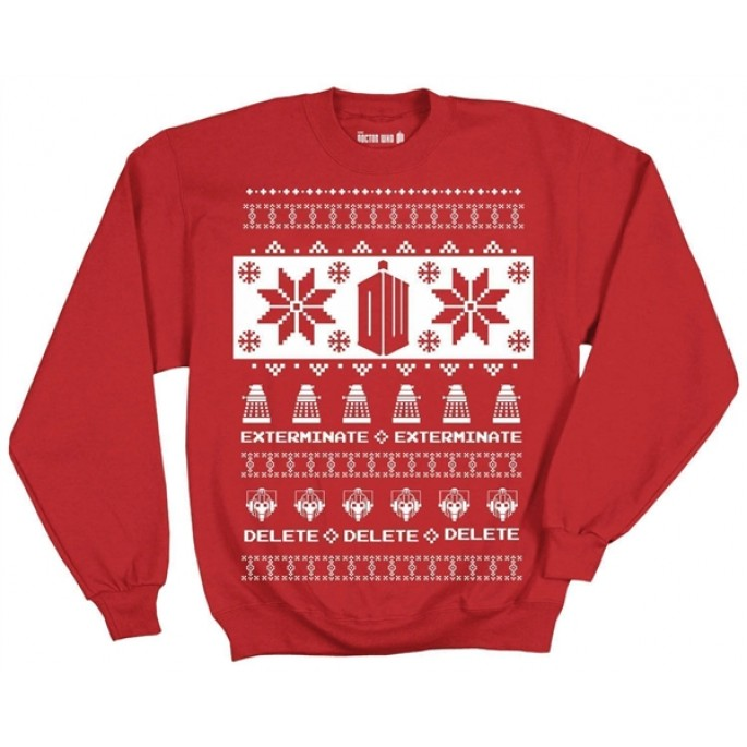 Doctor Who Villains Red Holiday Adult Fleece