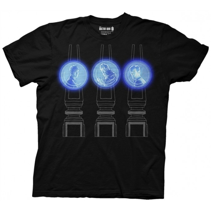 Doctor Who 3 Doctor Projections Adult T-Shirt