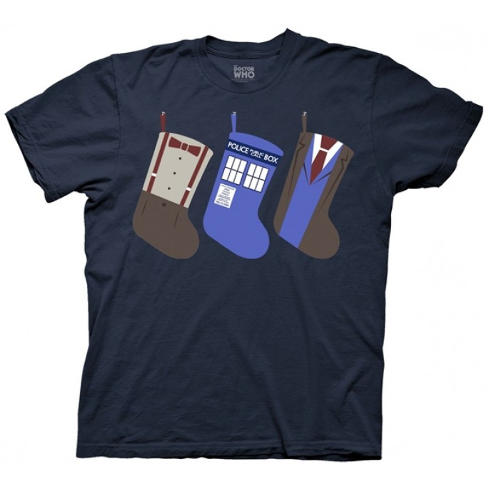 Doctor Who Christmas Stockings Holiday Navy Blue Adult T-Shirt