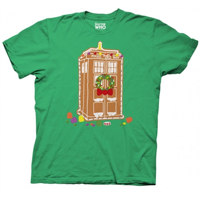 Doctor Who Gingerbread TARDIS Holiday Green Adult T-Shirt