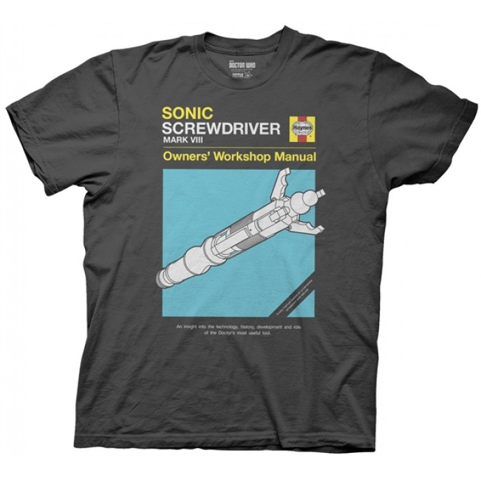 Doctor Who Sonic Screwdriver Haynes Manual Charcoal Adult T-Shirt