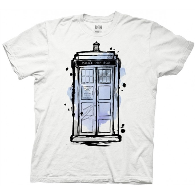 Doctor Who Ink Tardis White Adult T-Shirt