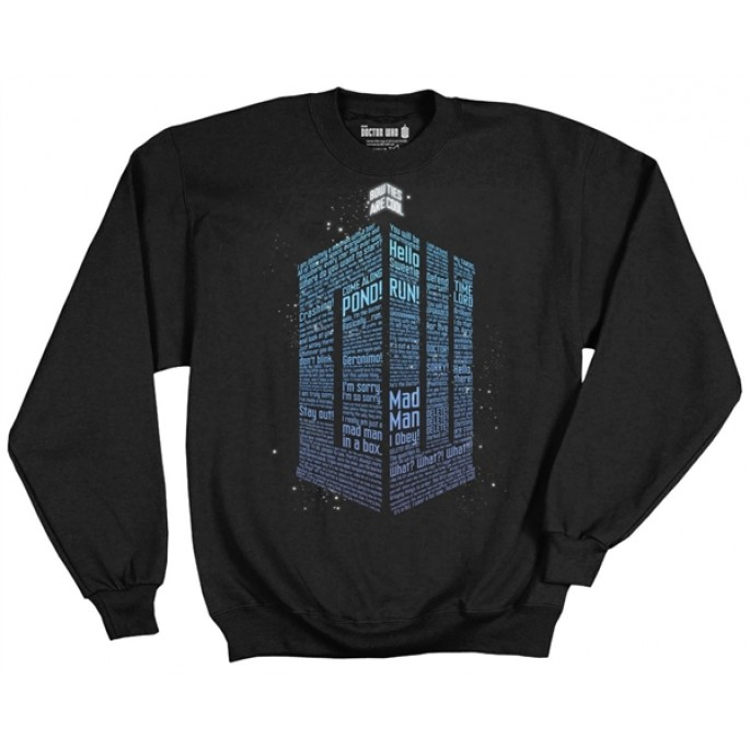 Doctor Who Logo Of Words Crew Fleece