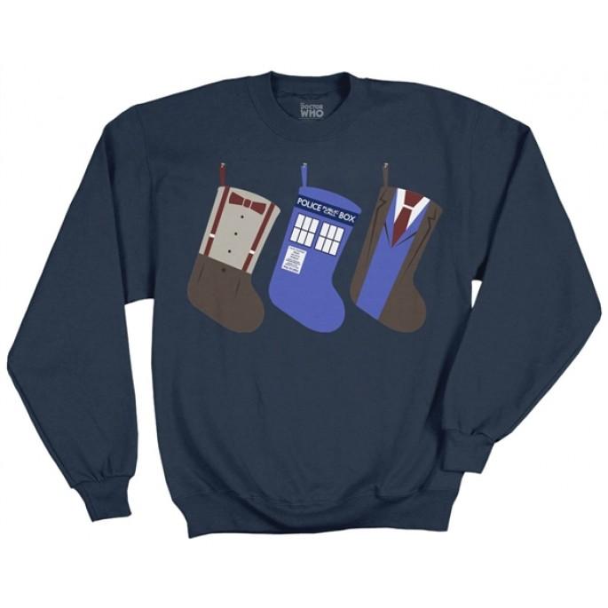 Doctor Who Christmas Stockings Holiday Navy Blue Adult Fleece
