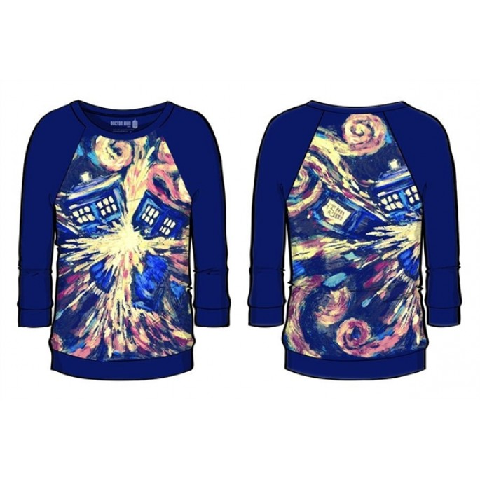 Doctor Who Van Gogh Sublimated Women's Raglan Shirt