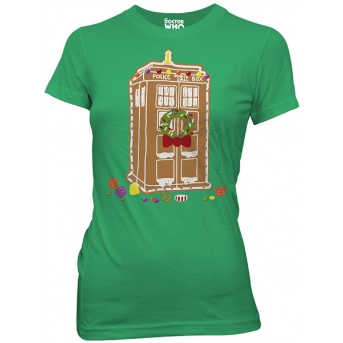 Doctor Who Gingerbread TARDIS Holiday Green Women's Juniors T-Shirt