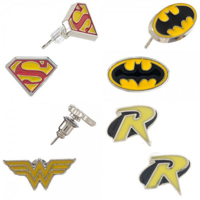 DC Comics Enamel Fill Ear Ring Set