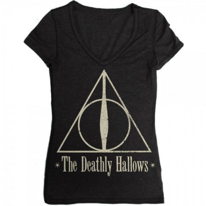Harry Potter Deathly Hallows Juniors Black V-Neck T-Shirt