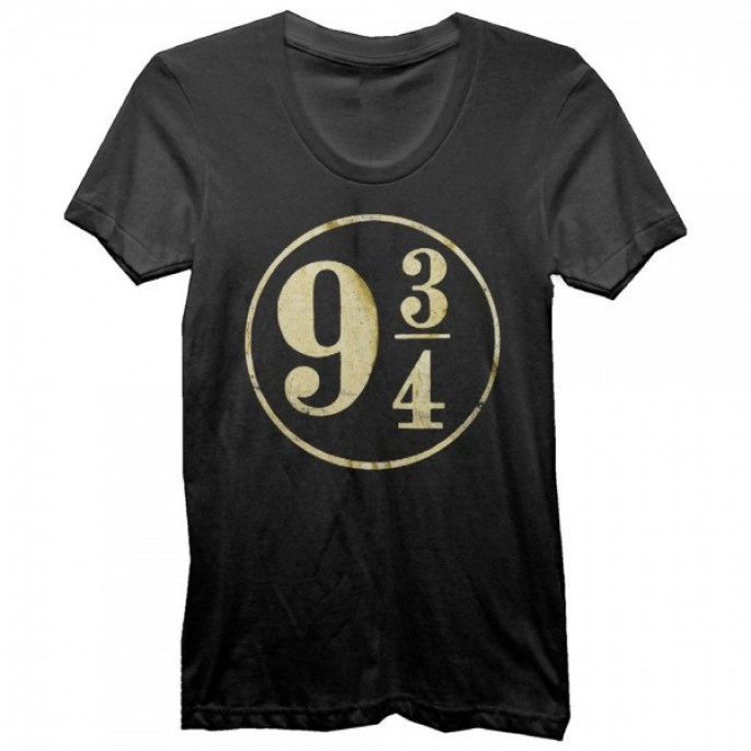 Harry Potter Foil 9 3/4 Juniors Black T-Shirt