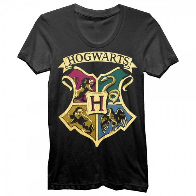Harry Potter Gold Foil Hogwarts Crest Juniors Black T-Shirt