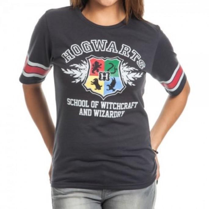 Harry Potter Hogwarts Womens Junior Hockey Jersey Dark Gray T-Shirt