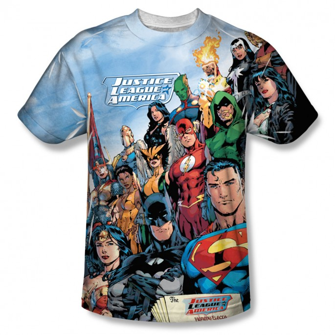 JLA Sublimation Print Polyester Adult T-shirt