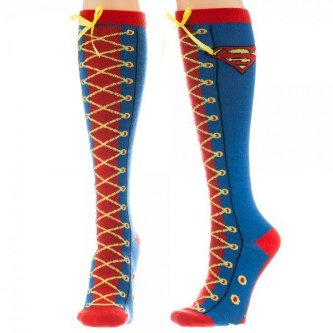 Superman Faux Lace Up Women's Knee High Socks