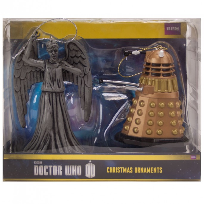 Doctor Who Dalek and Weeping Angel Ornament Set