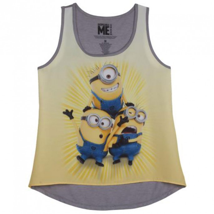 Despicable Me Cute Minions Womens / Juniors Gray Tank Top