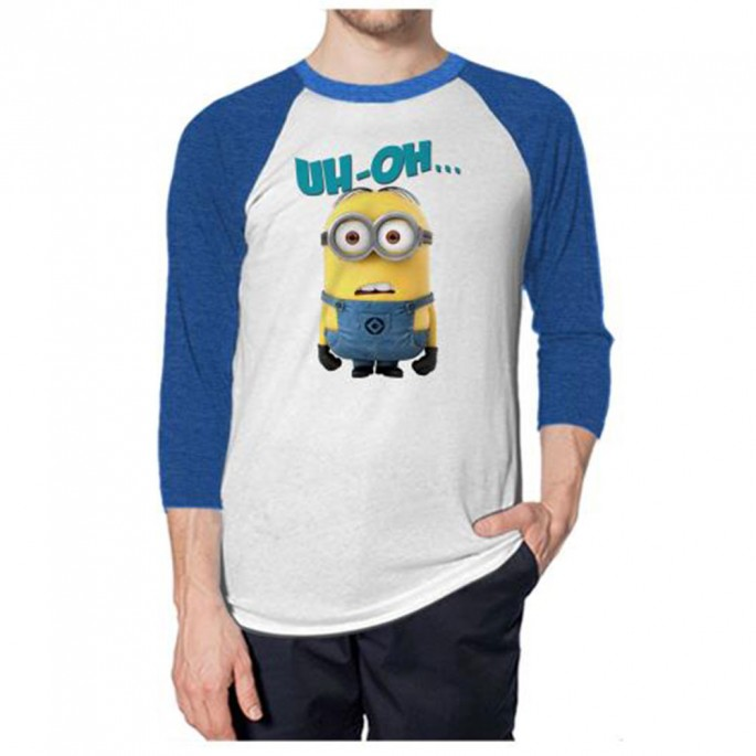 Despicable Me Minion Blank Stare Adult White/Blue Raglan