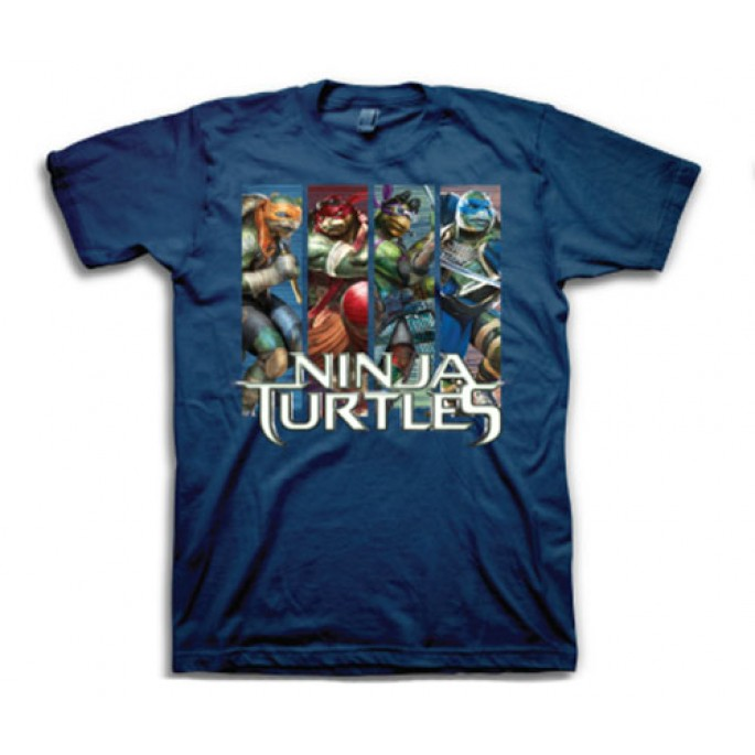 TMNT Movie Image Stripes Adult T-Shirt