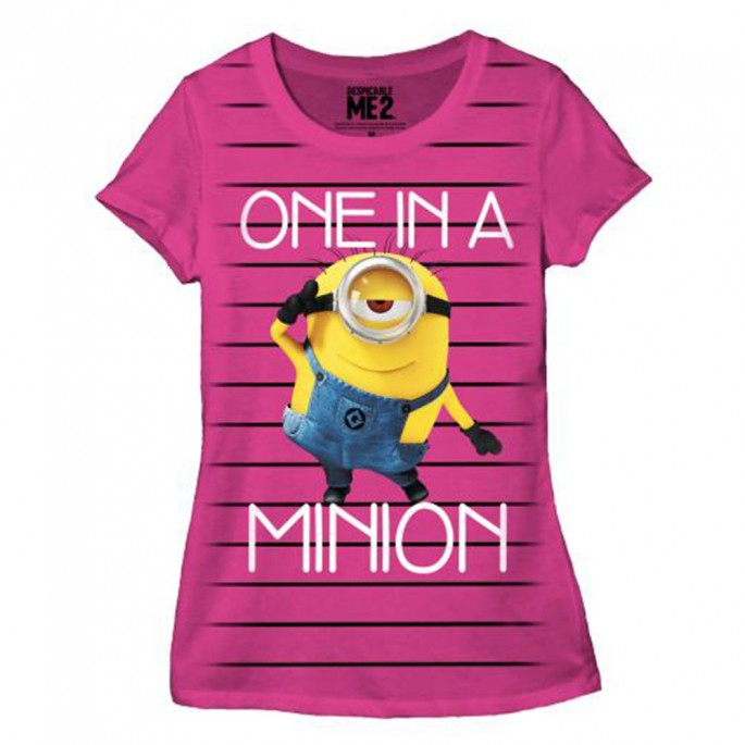 Despicable Me Striped Minion Womens / Juniors Hot Pink T-Shirt