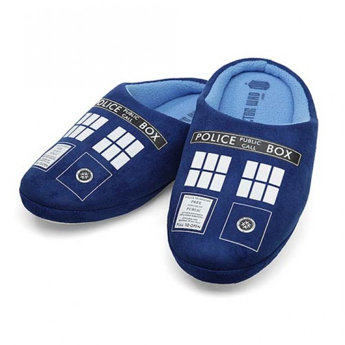 Doctor Who TARDIS Mens Slippers Large