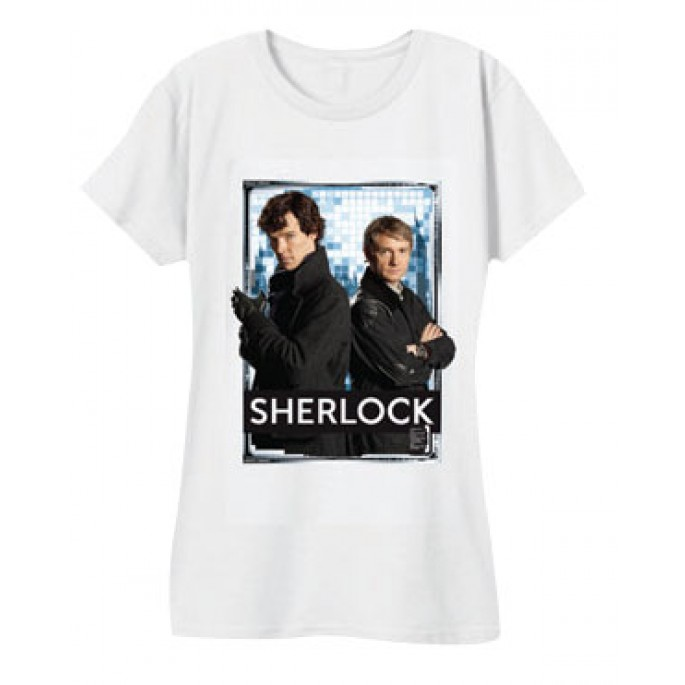 Sherlock and Watson White Women's Juniors T-Shirt