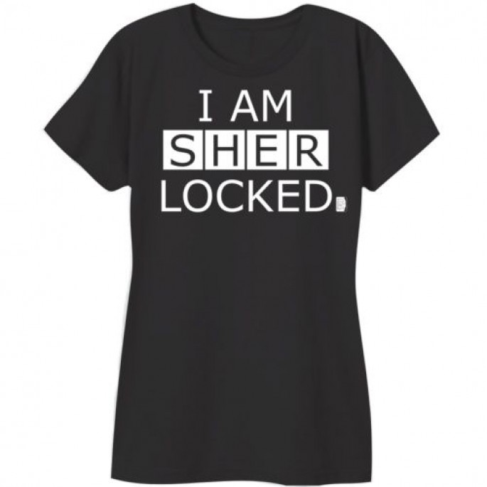 Sherlock I Am Sherlocked Black Cotton Women's Juniors T-Shirt