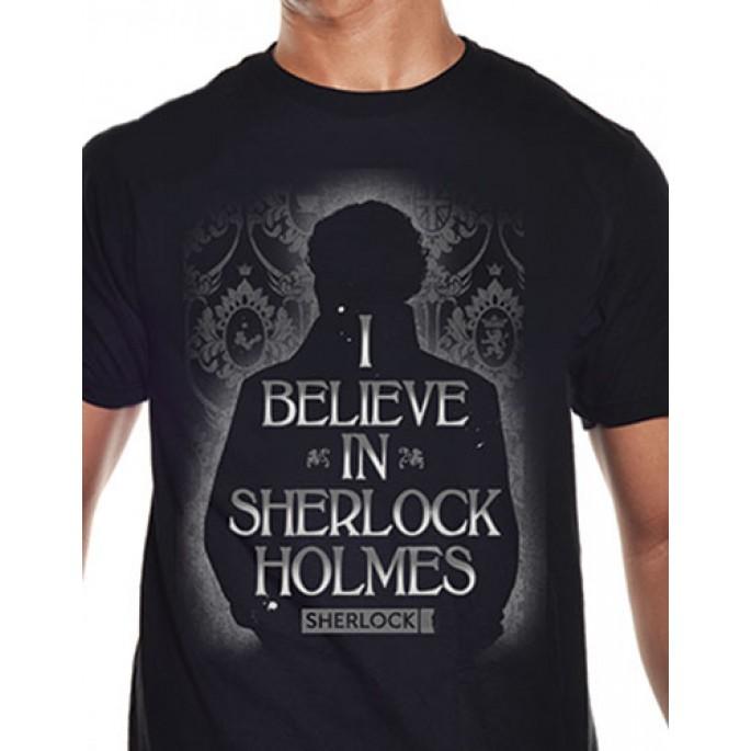 Sherlock I Believe In Sherlock Holmes Black Adult T-Shirt