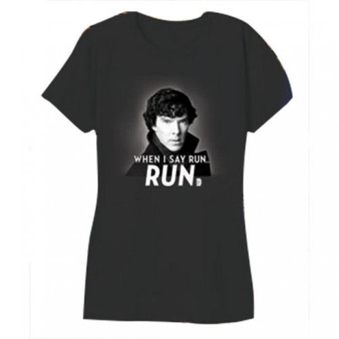 Sherlock When I Say Run - Run Charcoal Women's Juniors T-Shirt
