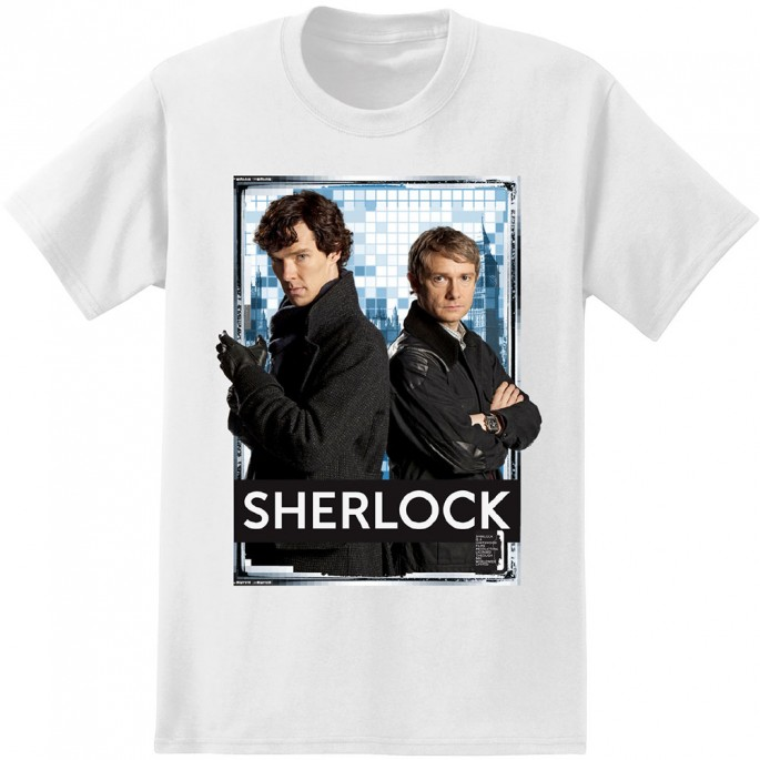 Sherlock and Watson White Adult T-Shirt