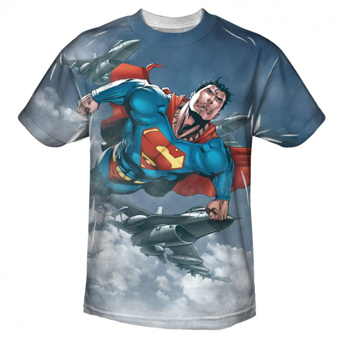 Superman In The Sky Sublimation Print Polyester Adult T-shirt