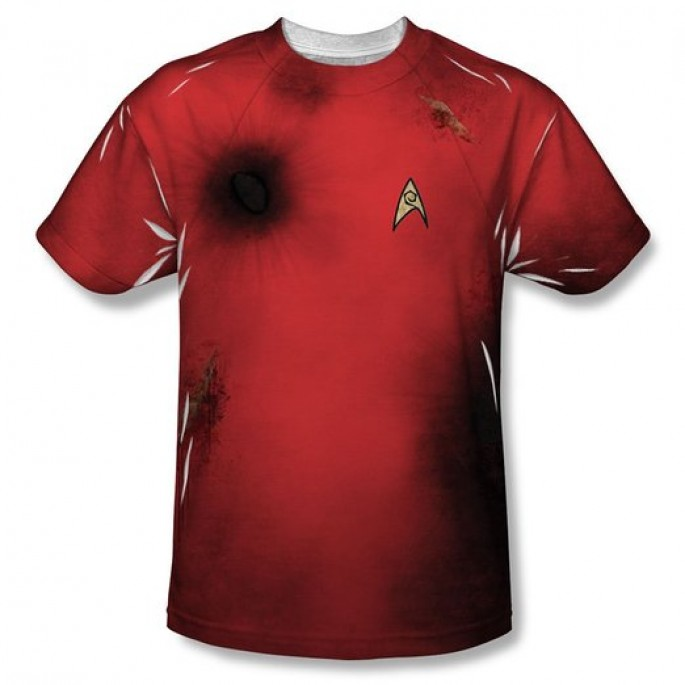 Star Trek Dead Red Crew Member Sublimation Single Sided Adult T-shirt