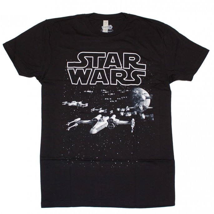 Star Wars Death Star Aramada Black Adult T-Shirt