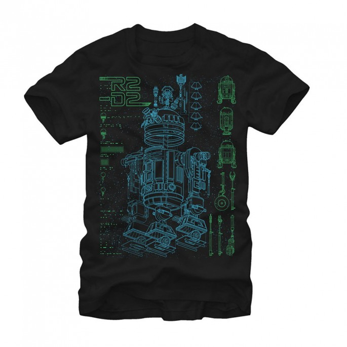 Star Wars Inside R2D2 Black Adult T-shirt