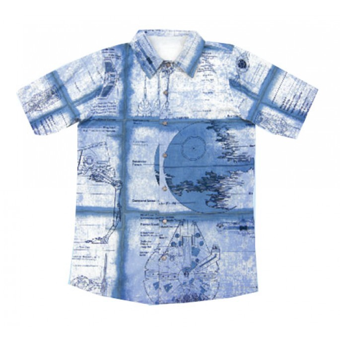 Star Wars Schematics Wet Print Rayon Challis Shirt