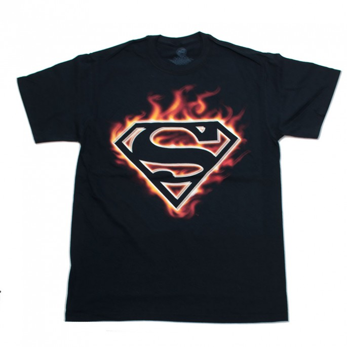 Superman Flame Logo Adult T-Shirt