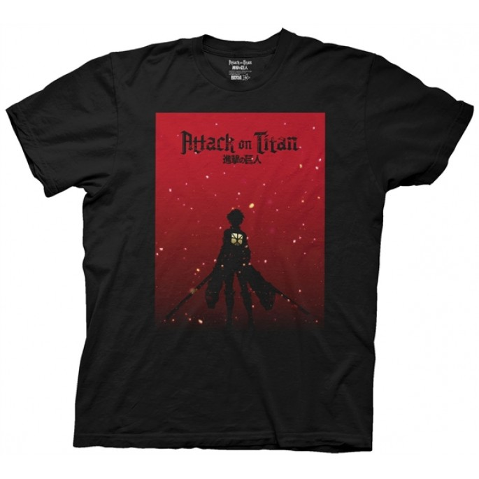 Attack on Titan Silhouette on Red Gradient Black Adult T-shirt
