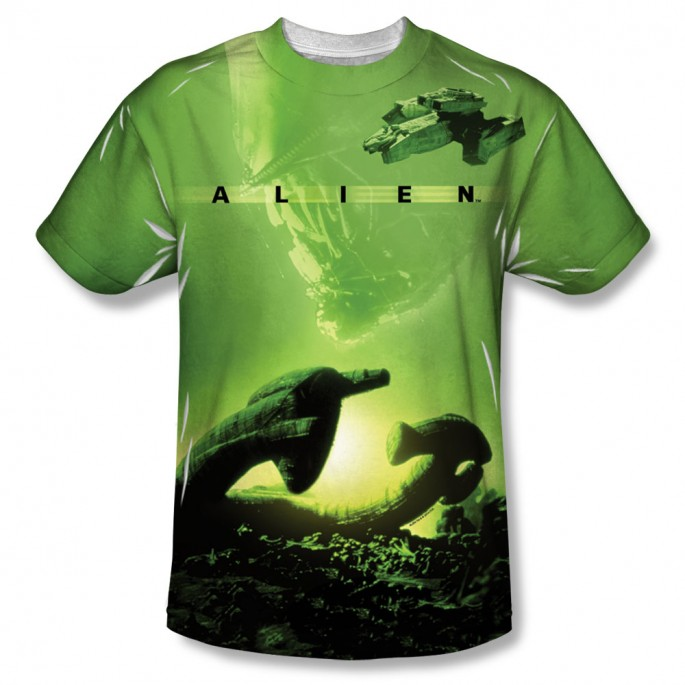 Alien Derelict Ship One Side Adult Sublimation T-Shirt