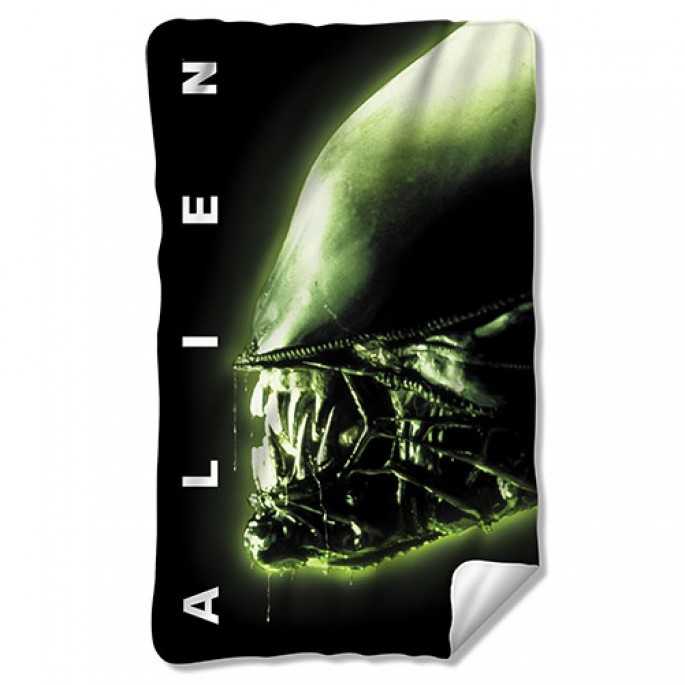 Aliens Head Fleece Blanket