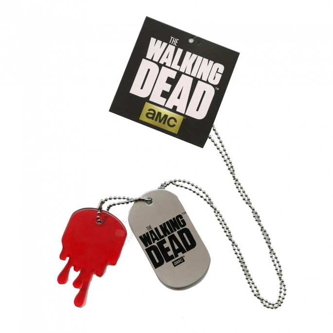 Walking Dead Metal Dog Tag with Dripping Blood