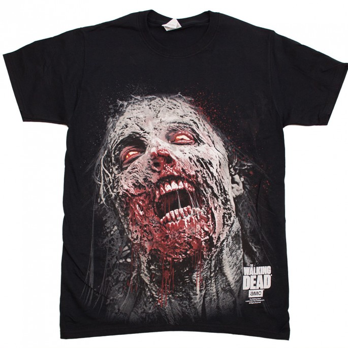 The Walking Dead Jumbo Walker Face Black Adult T-Shirt