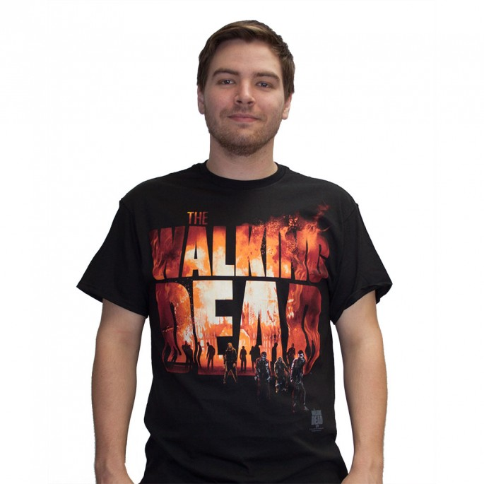 The Walking Dead Two Fire Logo Black Adult T-Shirt